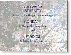 Serenity Prayer Acrylic Print by Edward Congdon