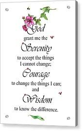 Serenity Prayer Acrylic Print