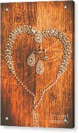Set Of Brilliant Jewellery On Wooden Background Acrylic Print