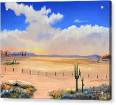 Acrylic Print featuring the painting Setting Desert Sun by Sena Wilson