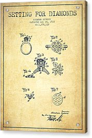 Setting For Diamonds Patent From 1918 - Vintage Acrylic Print