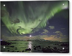 Setting Moon And Aurora Acrylic Print