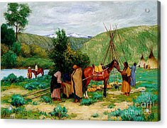 Setting Up Camp - Little Big Horn Acrylic Print by Pg Reproductions