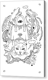 Seven Cats In Tokyo Contour Acrylic Print by Kenal Louis