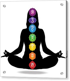 Seven Chakra Illustration With Woman Silhouette Acrylic Print by Serena King