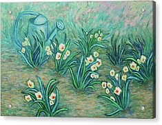 Acrylic Print featuring the painting Seven Daffodils by Xueling Zou
