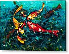Seven Koi Acrylic Print by Mary DuCharme
