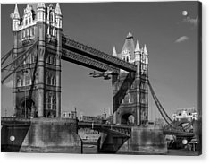 Seven Seconds - The Tower Bridge Hawker Hunter Incident Bw Versio Acrylic Print