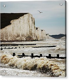Seven Sisters Chalk Cliffs Acrylic Print by Peter Funnell