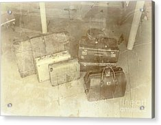 Several Vintage Bags On Floor Acrylic Print