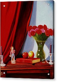 Acrylic Print featuring the painting Sewing Carnations by Gene Gregory