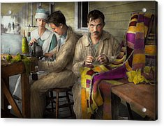 Sewing - Knitting Helps Me To Relax... 1917 Acrylic Print by Mike Savad