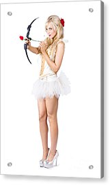 Sexy Cupid In High Heels With Red Rose Acrylic Print