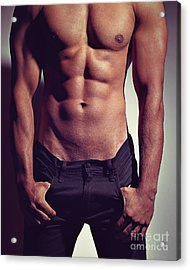 Sexy Male Muscular Body Acrylic Print