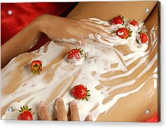 Sexy Nude Woman Body Covered With Cream And Strawberries Acrylic Print by Oleksiy Maksymenko