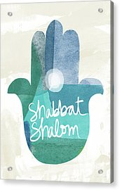 Shabbat Shalom Hamsa- Art By Linda Woods Acrylic Print by Linda Woods