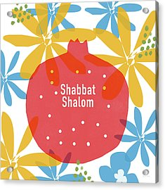 Shabbat Shalom Pomegranate- Art By Linda Woods Acrylic Print