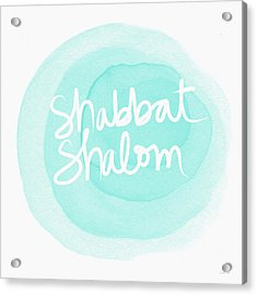 Shabbat Shalom Sky Blue Drop- Art By Linda Woods Acrylic Print