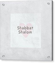 Shabbat Shalom Soft Heart- Art By Linda Woods Acrylic Print