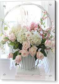 Shabby Chic Basket Of White Hydrangeas - Pink Roses - Dreamy Shabby Chic Floral Basket Of Roses Acrylic Print by Kathy Fornal