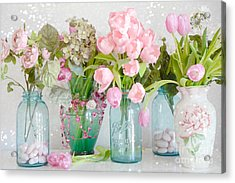 Shabby Chic Cottage Ball Jars And Tulips Floral Photography - Mason Ball Jars Floral Photography Acrylic Print by Kathy Fornal