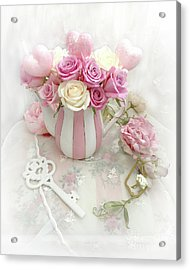 Acrylic Print featuring the photograph Shabby Chic Valentine Pink And Yellow Roses In Vase - Romantic Roses Skeleton Key Art by Kathy Fornal