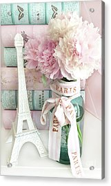 Parisian Cottage Pink Peonies With Eiffel Tower And Books - Shabby Cottage Peony Eiffel Tower Art Acrylic Print by Kathy Fornal