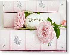 Shabby Chic Cottage Pink Roses On Pink Books - Romantic Inspirational Dream Roses  Acrylic Print by Kathy Fornal