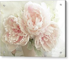 Acrylic Print featuring the photograph Shabby Chic Romantic Pastel Pink Peonies Floral Art - Pastel Peonies Home Decor by Kathy Fornal