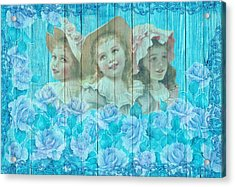 Shabby Chic Vintage Little Girls And Roses On Wood Acrylic Print
