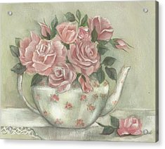 Shabby Teapot Rose Painting Acrylic Print