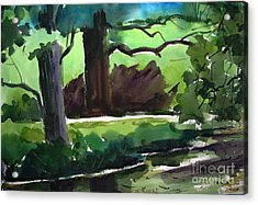 Shaded Mirror On Mississinew River Matted Glassed Farmed Acrylic Print by Charlie Spear