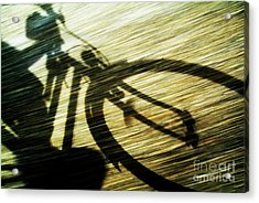 Shadow Of A Person Riding A Bicycle Acrylic Print by Sami Sarkis