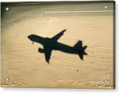 Shadow Of Airplane Flying Into Land Acrylic Print by Sami Sarkis