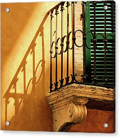 Shadows And Green Shutter Acrylic Print