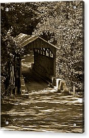 Shady Covered Bridge In Chocolates Acrylic Print by DigiArt Diaries by Vicky B Fuller