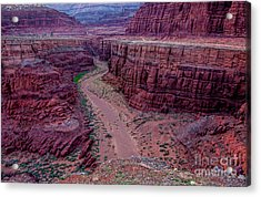 Shafer Canyon At Sunset - Moab - Utah Acrylic Print by Gary Whitton
