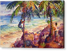 Shaking Down Coconuts Acrylic Print by Estela Robles