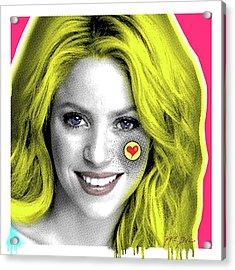 Shakira, Pop Art, Pop Art, Portrait, Contemporary Art On Canvas, Famous Celebrities Acrylic Print