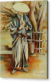 Shakuhachi Samurai Acrylic Print
