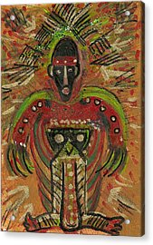 Shaman Says Walk Softly And Carry A Big Schtik Acrylic Print by Anne-Elizabeth Whiteway
