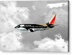 Acrylic Print featuring the digital art Shamu 01 by Mike Ray