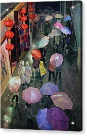 Acrylic Print featuring the painting Shanghai Shoppers by Kris Parins