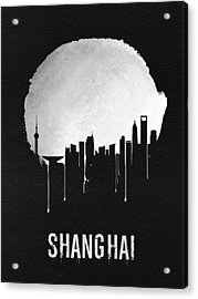 Shanghai Skyline Black Acrylic Print by Naxart Studio