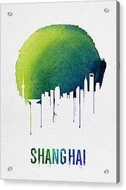 Shanghai Skyline Blue Acrylic Print