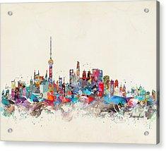 Shanghai Skyline Acrylic Print by Bri B