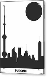 Shanghai Sunshine Black White Acrylic Print by Asbjorn Lonvig