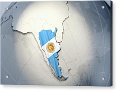 Shape And Ensign Of Argentina On A Globe Acrylic Print by Dieter Spannknebel