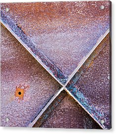 Acrylic Print featuring the photograph Shapes And Textures On Bunker Door by Gary Slawsky