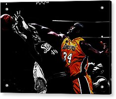 Shaq Protecting The Paint Acrylic Print by Brian Reaves